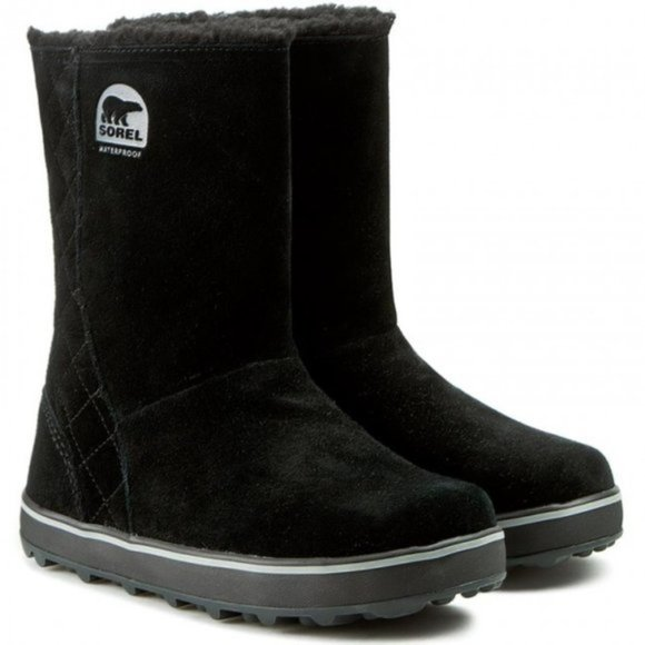 Sorel Womens Glacy Winter Snow Boots Black Suede